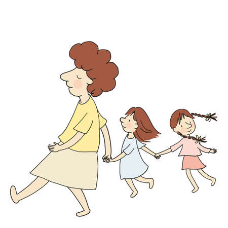 Vector illustration of mom and two little kids walking together hand in hand. Family concept mother and kid. Cartoon character drawing style. Isolated on white background.