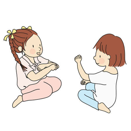 Vector illustration of two little kids playing Rock, Paper, Scissors hand game. Early childhood development, friend, friendship concept. Cartoon character drawing style. Isolated on white background.