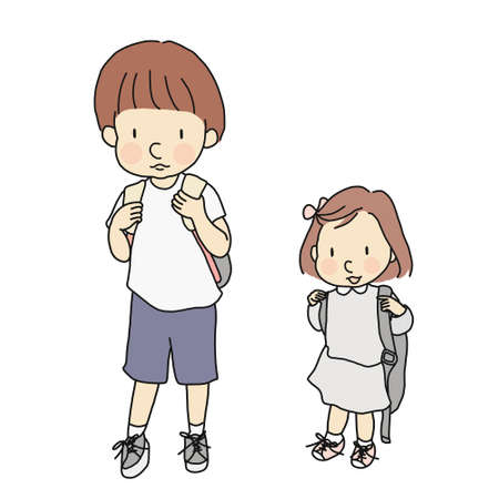 Vector illustration of little kids carrying school backpack. Early childhood development, first day of school, education, family concept. Cartoon character drawing style. Isolated on white background.