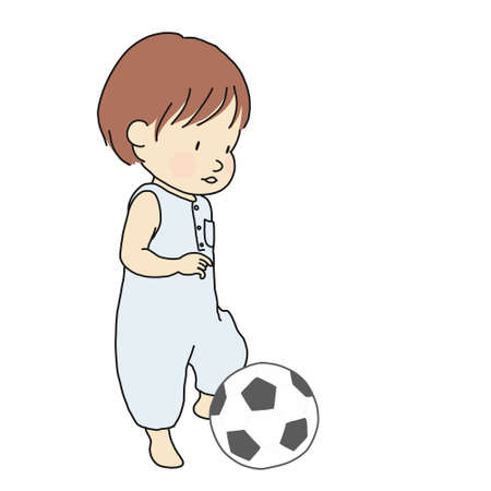 Vector illustration of toddler trying to kick football soft toy. Little kid playing ball. Early childhood development activity, family concept. Cartoon character drawing. Isolated on white background. Illustration