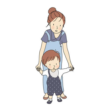 Vector illustration of little toddler first steps. Mother holding baby hand and helping him learn to walk. Early childhood development, family, happy mothers day concept. Cartoon character drawing.