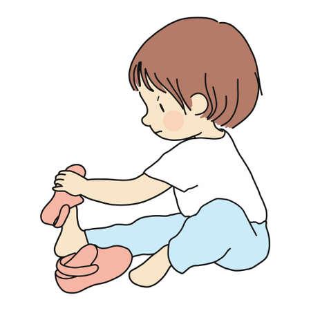 Illustrazione vettoriale di piccolo bambino seduto sul pavimento e cercando di indossare le proprie scarpe. Sviluppo della prima infanzia, educazione, apprendimento, concetto di abilità nel vestire. Disegno del personaggio dei cartoni animati.