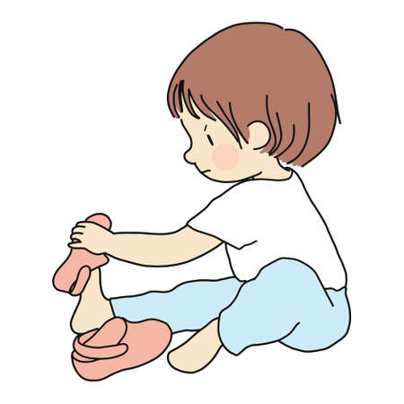 Vector illustration of little toddler sitting on floor and trying to put on his own shoes. Early childhood development, education, learning, dressing skill concept. Cartoon character drawing.