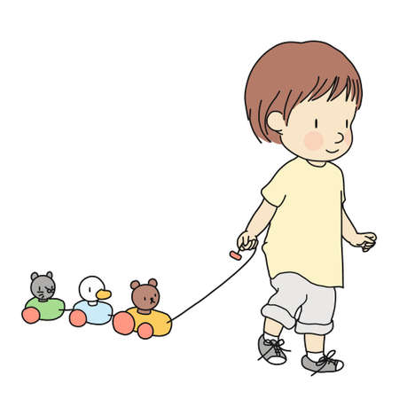 Vector illustration of little toddler pulling colorful wooden animal pull along train toy. Early child development activity, education, learning, child playing concept. Cartoon character drawing.