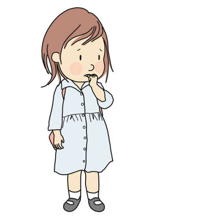 Vector illustration of little kid biting her nail to relieve anxiety, loneliness, stress. Early childhood development, nervous habit, emotional and behavior problem concept. Cartoon character design.