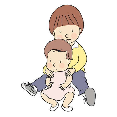 Vector illustration of two little innocent brother and sister sitting together on floor. Family, siblings, brotherhood, friendship, early childhood development concept. Cartoon character drawing.