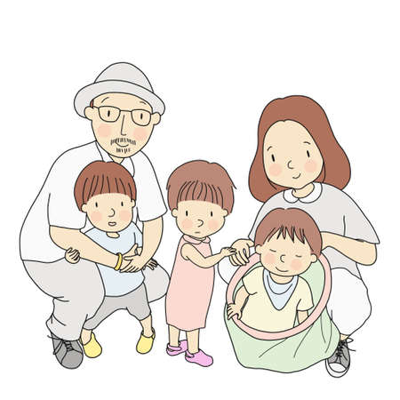 Vector illustration of father, mother and three little kids, one in dad arm, one standing, one sitting in toy bag. Family, parenthood, early childhood development concept. Cartoon character drawing.