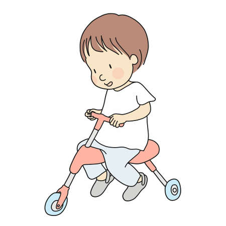 Vector illustration of little toddler riding a tricycle. Early childhood development activity, education, leaning, child playing - bike, bicycle concept. Cartoon character drawing. Isolated on white. Çizim