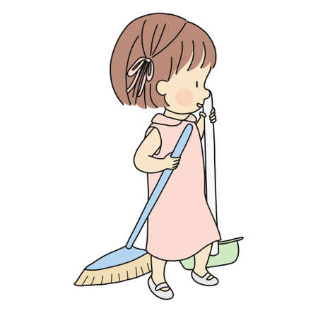 Vector illustration of little kid sweeping with broom and dustpan. Early childhood development activity - child help parent to do housework. Cartoon character drawing. Isolated on white background. Illustration