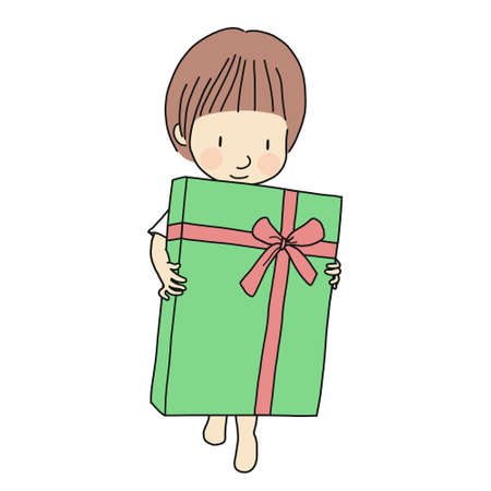 Vector illustration of little kid holding big gift box with ribbon. Family concept - Happy Birthday, Happy New Year, Merry Christmas. Cartoon character drawing. Isolated on white background.