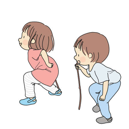 Vector illustration of little kids playing pretend game by acting as old people. Early childhood development activity - imagination play, education and learning concept. Cartoon character design.
