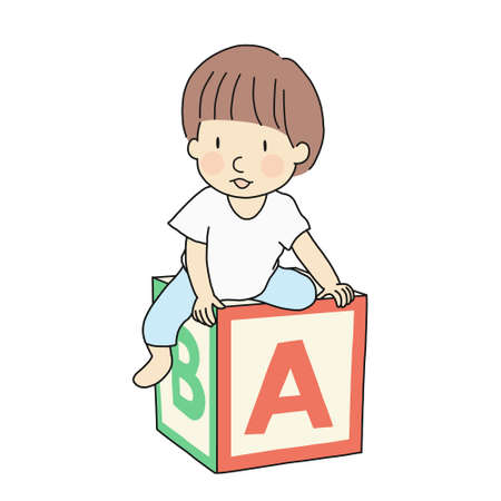Vector illustration of one little kid sitting on abc alphabet block. Early childhood development, education and learning, back to school concept. Cartoon character drawing style.