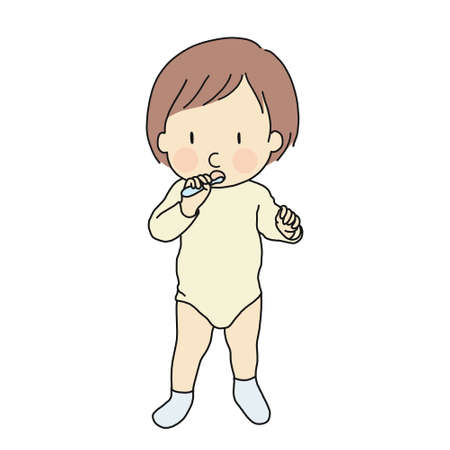 Vector illustration of little kid learning to brush teeth. Early childhood development - self care, education and learning concept. Cartoon character drawing style. Isolated on white background. Illustration