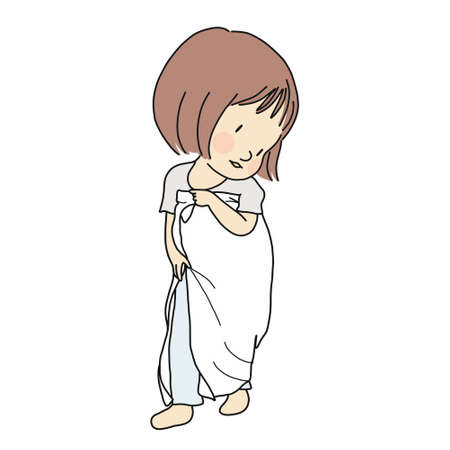 Vector illustration of little kid playing dress up by using fabric piece to make dress. Early childhood development, pretend and dramatic dress-up play, education and learning concept.