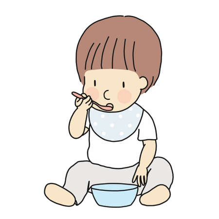 Vector illustration of self-feeding toddler. Little kid learning to eat food in bowl with spoon by self. Early childhood development - self feeding, self care, education & learning concept.