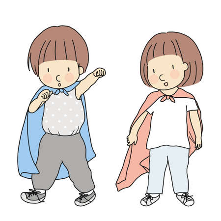 Vector illustration of little kids playing dress up and acting like superhero. Playing superhero. Early childhood development activity, pretend and dramatic dress-up play, education & learning concept.