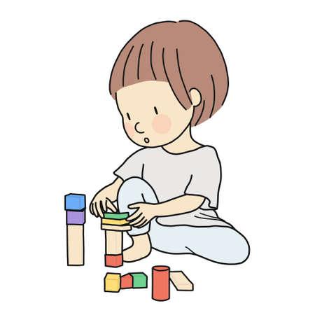 Ilustración de vector de niño jugando a construir bloques de madera apostando, ensamblando. Concepto de actividad, educación y aprendizaje de desarrollo de la primera infancia: bloque de construcción, juego constructivo.
