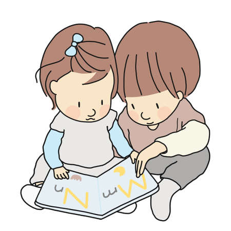 Vector illustration of two little kids, brother and sister, sitting & reading abc alphabet book together. Early childhood development activity, education and learning, family, child, siblings concept.