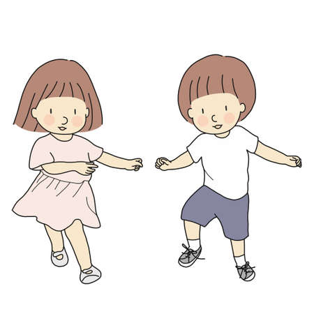 Vector illustration of happy kids, boy and girl, dancing together. Playing and laughing. Family, brother and sister, twins, best friends concept. Happy children day and friendship day greeting card. Illustration