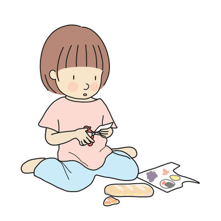 Vector illustration of little kid sitting on floor and cutting paper into small pieces with scissor. Early childhood development activity, learning and education concept. Cartoon character drawing.