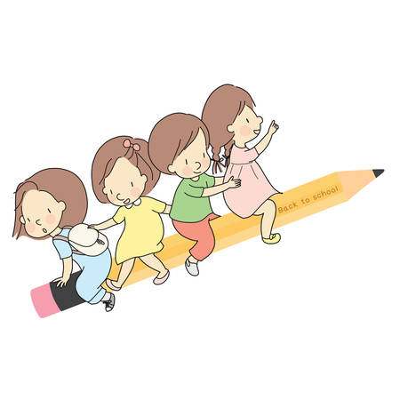 Vector illustration of little kids sitting together on yellow wooden pencil. Welcome back to school card, postcard, banner. Early childhood development, learning & education concept. Cartoon drawing.