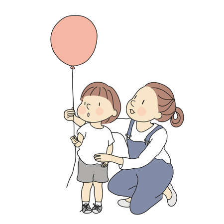 Vector illustration of mom and little kid with red balloon. Happy mother's day, happy children day, greeting card. Family, early childhood development, education and learning concept. Cartoon drawing. Illustration