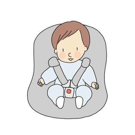 Vector illustration of little infant sitting in car seat. Baby safety concept. Cartoon character drawing style.