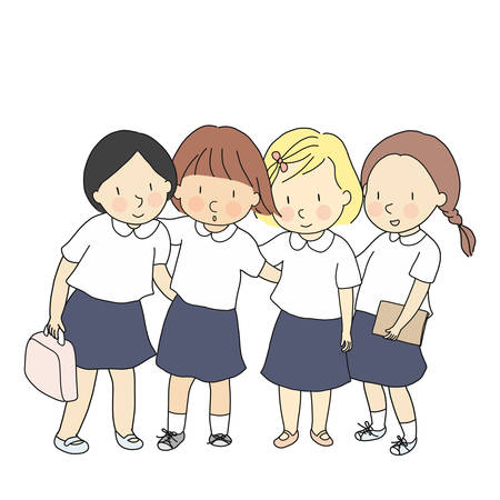 Vector illustration of students in school uniform standing together. Early childhood development, education & learning, back to school, friendship, international school concept. Cartoon drawing.