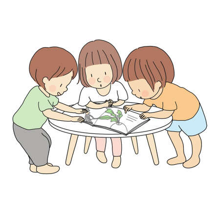 Vector illustration of little kids standing and reading story book together. Early childhood development activity, education and learning, friendship concept. Cartoon character drawing style.