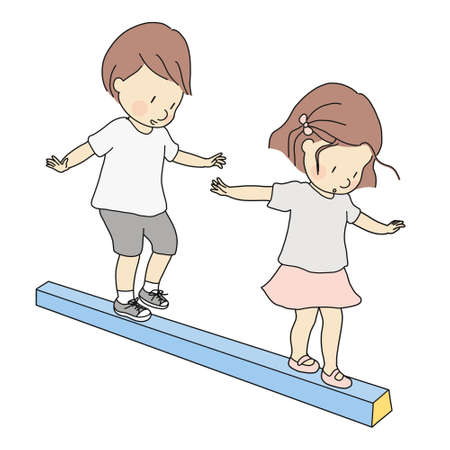 Illustrazione vettoriale di bambini piccoli, ragazzo e ragazza, giocando trave di equilibrio. Attività di sviluppo della prima infanzia, educazione e concetto di apprendimento. Vettoriali