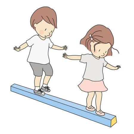 Vektorillustration von kleinen Kindern, Jungen und Mädchen, die Schwebebalken spielen. Frühkindliche Entwicklungsaktivität, Bildungs- und Lernkonzept. Vektorgrafik