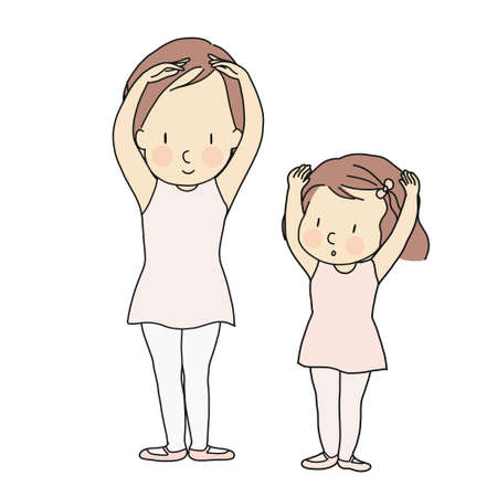 Vector illustration of little girl practicing basic ballet position with teacher in kid ballet dancing class. Child development activity, education & learning concept. Cartoon character drawing.