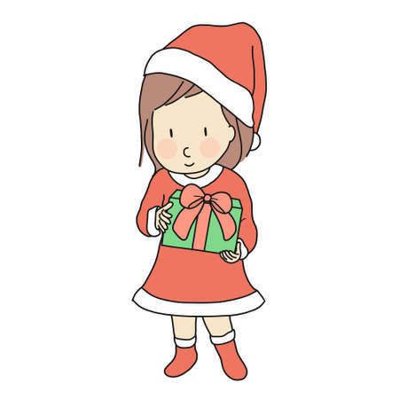 Vector illustration of little kid girl in red santa claus dress costume holding gift box for xmas celebration. Happy new year & merry christmas greeting card, holiday. Cartoon character drawing. Çizim