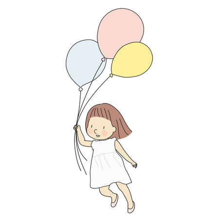 Vector illustration of little kid girl holding colorful balloons and flying with happiness. Happy children day greeting card concept. Cartoon character drawing style.