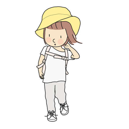Vector illustration of little kid girl walking with school backpack and yellow hat. Child development, travel concept. Cartoon character drawing style. Isolated on white background. Çizim