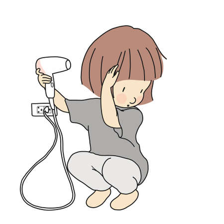 Vector illustration of little kid girl trying to dry hair with blow dryer. Child development & teenage & beauty concept. Cartoon character drawing style. Isolated on white background.