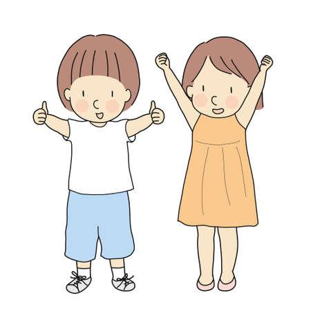 Ilustración de vector de dos niños, niño con pulgar hacia arriba y niña con brazos levantados y se adapta celebrando el éxito. Firmar y gesticular: está bien, sí, bien hecho, victoria, ganador. Estilo de dibujo de personaje de dibujos animados. Ilustración de vector