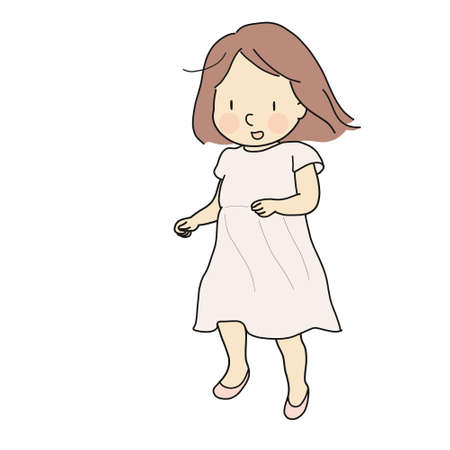 Vector illustration of cheerful girl running and smiling. Early childhood development activity, happy children day card, child playing concept. Cartoon character drawing style. Çizim