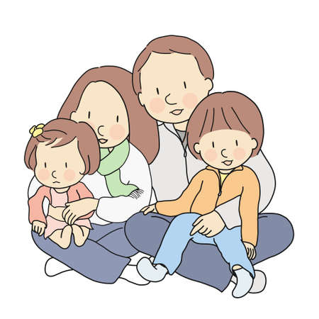 Vector illustration of happy father, mother, son & daughter sitting together. Kids sitting on parents lap. Dad and mom holding and hugging baby. Family day, parenthood, childhood development concept.