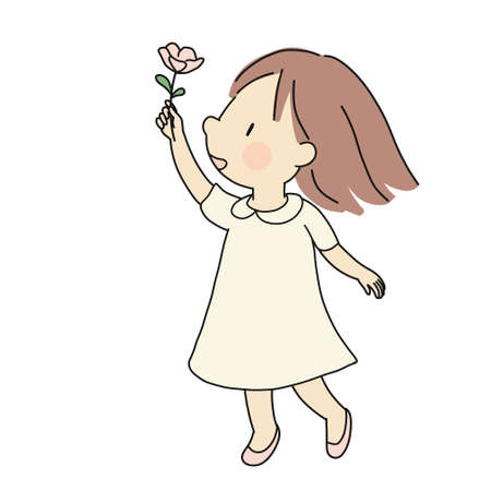 Vector illustration of little happy kid girl giving pink flower. Happiness, love, mother day and valentine day concept. Cartoon character drawing style.
