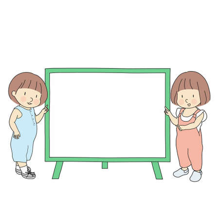 Vector illustration of  two little kids, boy and girl, pointing at blank whiteboard for presentation, brochure or banner. Education and learning idea and concept. Cartoon character drawing style.