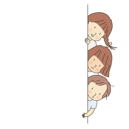 Vector illustration of little kids, boy and girls, peeking out behind wall. Peek a boo, back to school, happy children day concept. Cartoon drawing. Blank background template for banner & brochure. Ilustracja