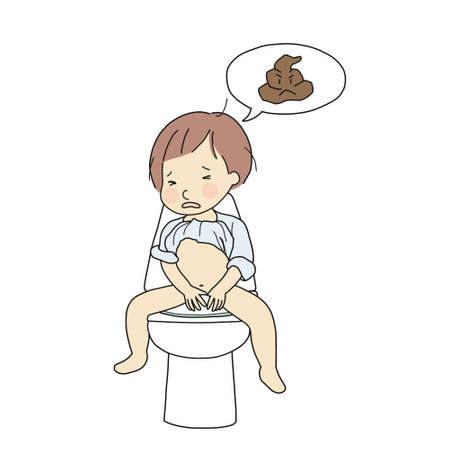Vectorillustratie van baby wordt verstopt. Klein kind dat probeert te poepen. Gezondheidsprobleem, constipatie bij peuter, probleem zindelijkheidstraining concept. Cartoon karakter tekening.