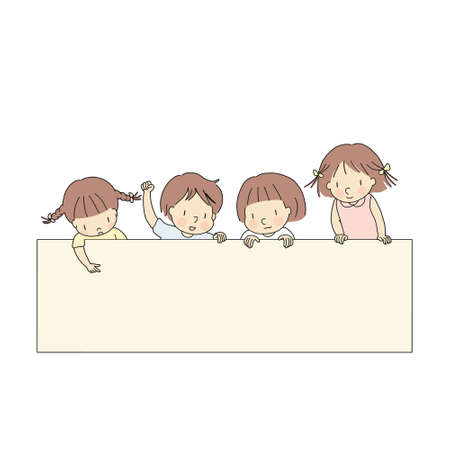 Vector illustration of four little kids, boy & girls, pointing and looking at  blank template for presentation, brochure or banner. Education and learning concept. Cartoon character drawing style. Illustration