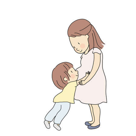 Vector illustration of kid touching, hugging and feeling new baby in pregnant mom belly. Parent prepare toddler to be siblings. Happy mother day, family, maternity concept. Cartoon character drawing. Фото со стока - 107037525