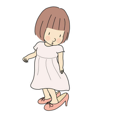 Vector illustration of little kid girl trying to put on mother's high heel shoes. Happy children day, child playing, funny concept. Cartoon character drawing.