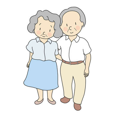 Vector illustration of elderly couple standing & smiling together. Elderly people, 70s, healthcare, family, togetherness, happy anniversary, happy grandparents day concept. Cartoon character drawing. Çizim