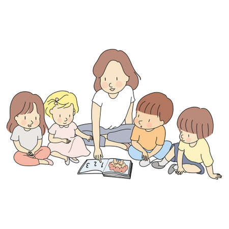 Vector illustration of teacher & little students reading books together. Early childhood development, learning & education, nursery, kindergarten, elementary school concept. Cartoon character drawing. Stock Illustratie
