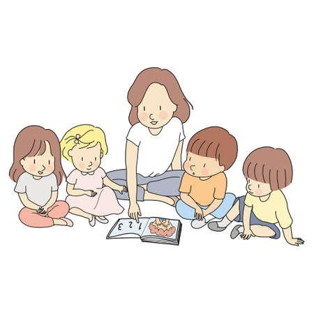 Vektorillustration des Lehrers u. Der kleinen Schüler, die Bücher zusammen lesen. Frühkindliche Entwicklung, Lernen & Bildung, Kindergarten, Kindergarten, Grundschulkonzept. Zeichentrickfigur Zeichnung. Vektorgrafik