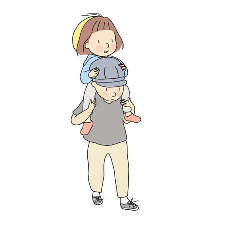 Vector illustration of little kid girl riding dad's shoulders. Daughter ride on daddy back. Early child development, family, happy father day, happy children day concept. Cartoon character drawing. Illustration